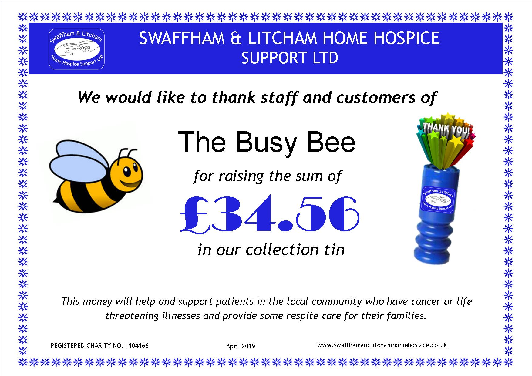 Money from loose change collection box at The Busy Bee, April 2019