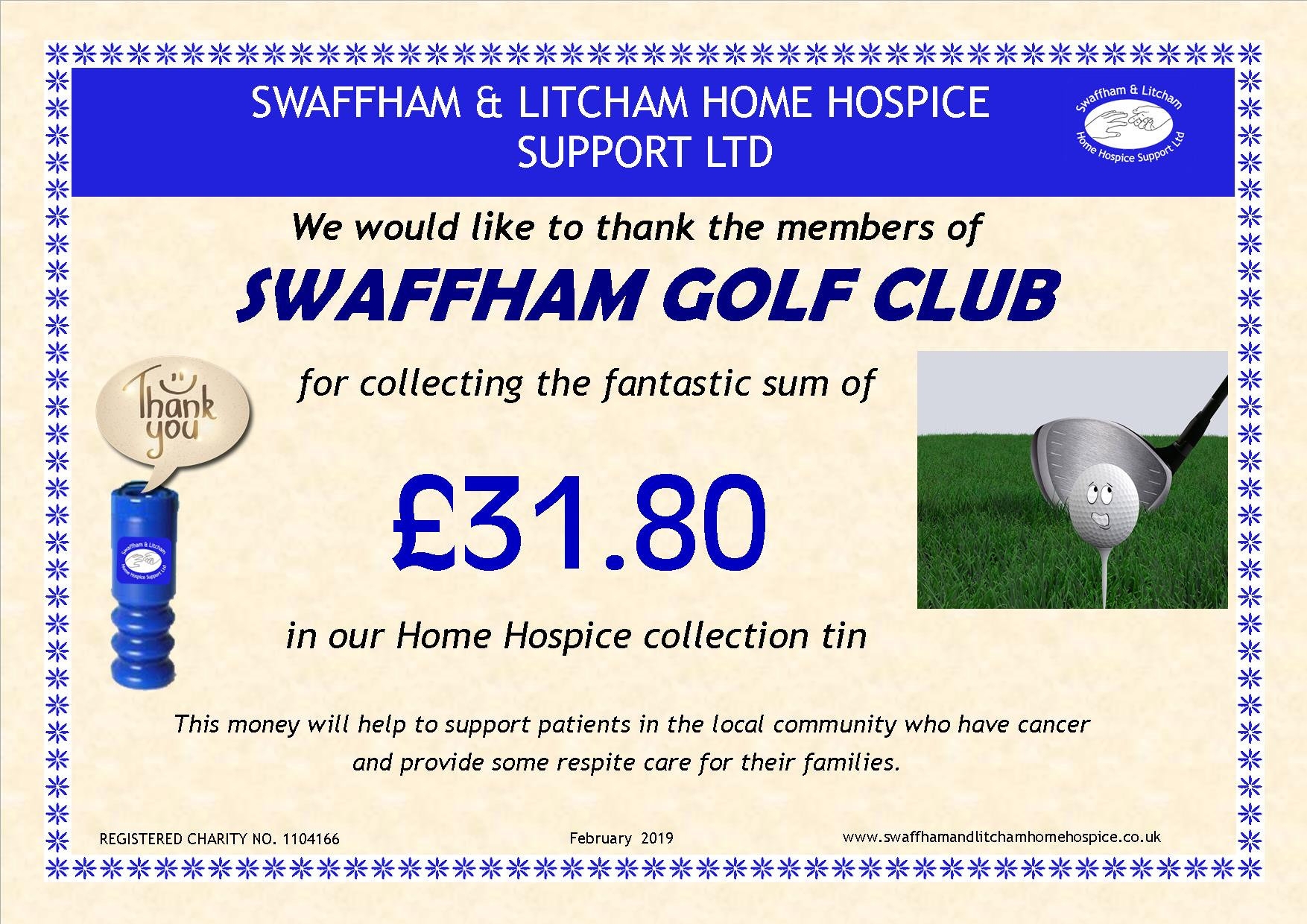 Money from loose change collection box at Swaffham Golf Club, February 2019