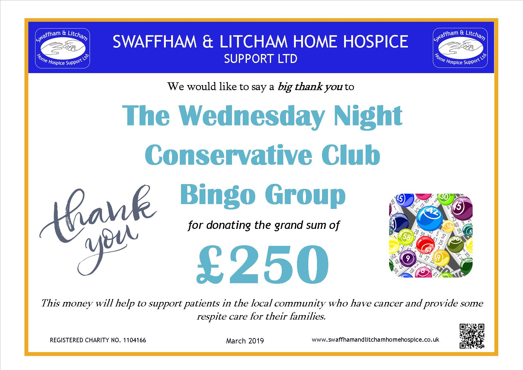 Money raised at the Wednesday Night Conservative Club Bingo Group, March 2019