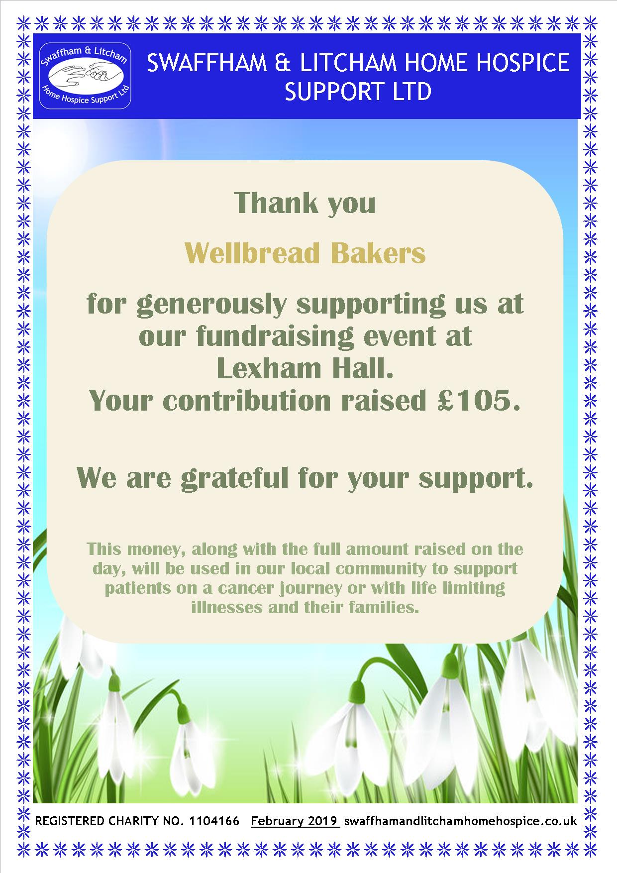 Thank you for supporting our Snowdrop Walk fundraising event at Lexham Hall, February 2019